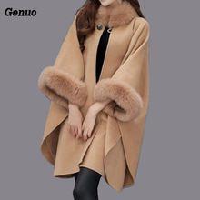 Women Wool Coat Camel Poncho Winter Knitwear Shawl Cape Feminino Loose Warm Outerwear Inverno Plus Size 3XL Genuo Overcoat