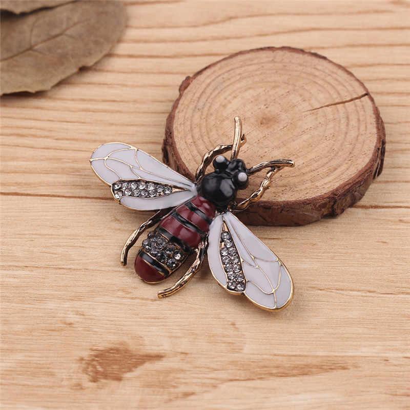 Vintage Serangga Lebah Bros untuk Wanita Anak Perempuan Lebah Perhiasan Emas Warna Kuning Hijau Enamel Bros Perhiasan Bumble Bee Brocade