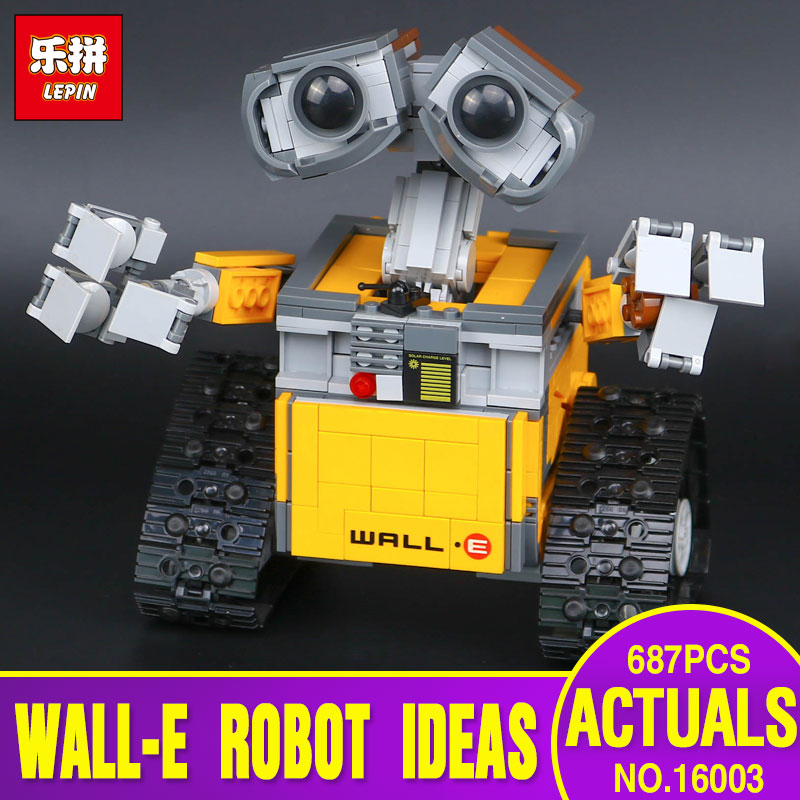 New Lepin 16003 687pcs Idea Robot WALL E Educational Building Set Kits Bricks Blocks Bringuedos Compatitable Children Toys 21303 new 687pcs lepin 16003 ideas series wall e lovable robot wall e building block minifigures with legoe 21303 toy kids boy