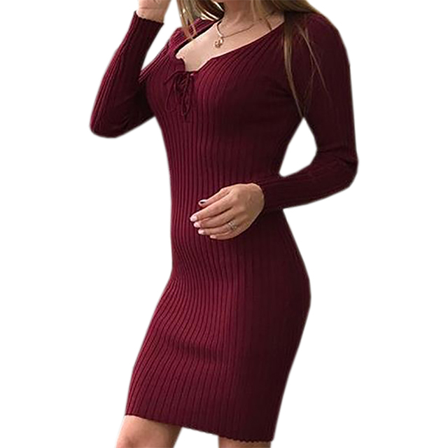 Fashion Autumn Winter Dress Long Sleeve Knitted Dresses Stretchy Warm Bandage Dress Lace Up Sexy Party Bodycon Vestidos GV1031