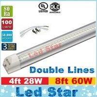 Интегрированный T8 светодиодные фонари 4ft 28 Вт 8ft 60 Вт светодиодные трубки двойной линии светодиодные трубки 1200 мм 2400 мм AC 110-240 В ul dlc