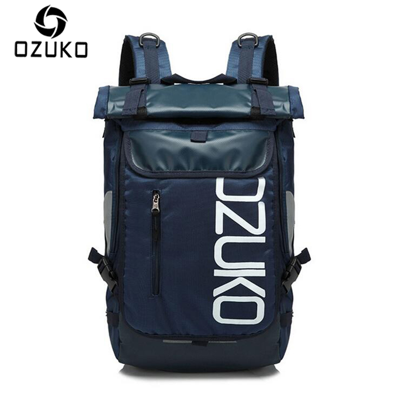 OZUKO Brand Men Travel Backpack 2018 New Style Casual School Bag for Teenagers 14-15 inch Laptop masculina Shoulder Bags Mochila pretty style high quality men backpack solid men s travel bags canvas bag mochila masculina bolsa laptop school backpack li 1263