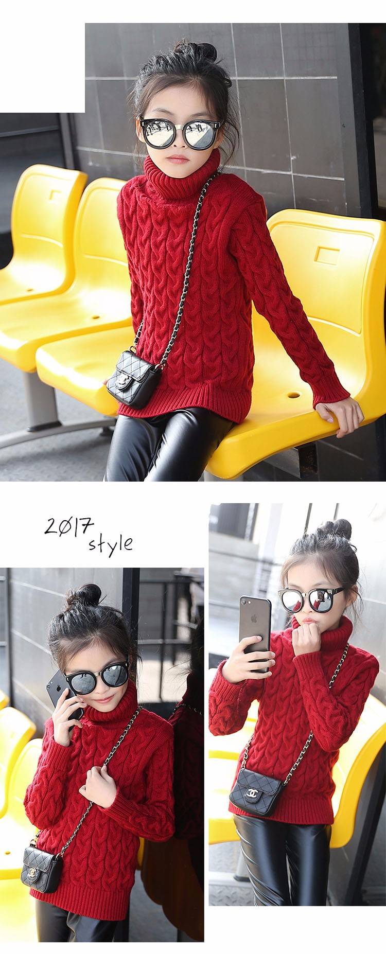 2017 new high neck long knitting girls sweater spring autumn winter turtleneck knitted children sweaters kids girls thick red black beige pink tops 7 8 9 10 11 12 13 14 15 years little big teenage girls sweater winter casual children (9)