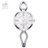 Shengke Unique Bracelet Watches Crystal Dial Woman Watches 2017 Brand Luxury Fashion Quartz Clock Gold Luxury