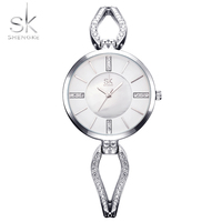 Shengke Unique Bracelet Watches Crystal Dial Woman Watches 2017 Brand Luxury Fashion Quartz Clock Gold Luxury