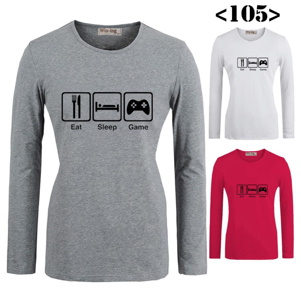 Shirt design buy - Best Sell Funny Eat Sleep Game Design Pattern Printed Long Sleeves T Shirt Women S Girl S