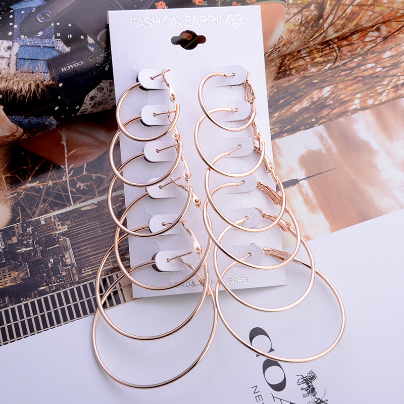 Punctual Funique Silver Color Vintage 6 Pairs/set Big Circle Hoop Earring For Women Jewelry Earings Jewelry Brincos Gift Combination Set Fragrant Aroma Hoop Earrings
