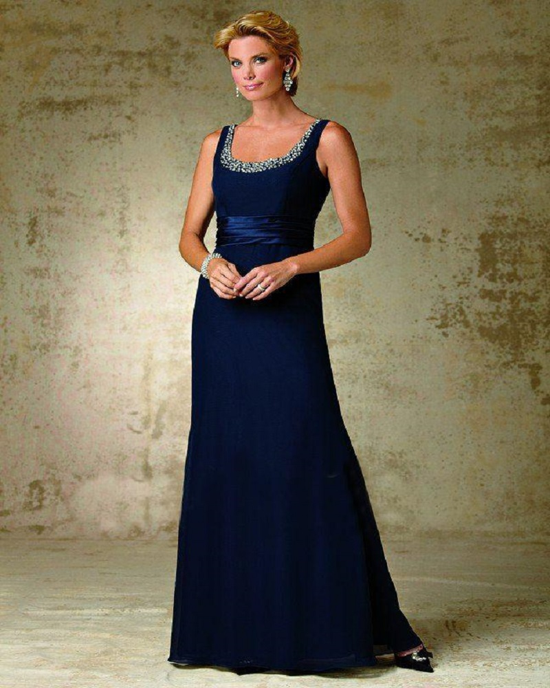 navy Blue 2016 Mother Of The Bride Dresses A line Satin Beaded Long Evening Dresses Mother