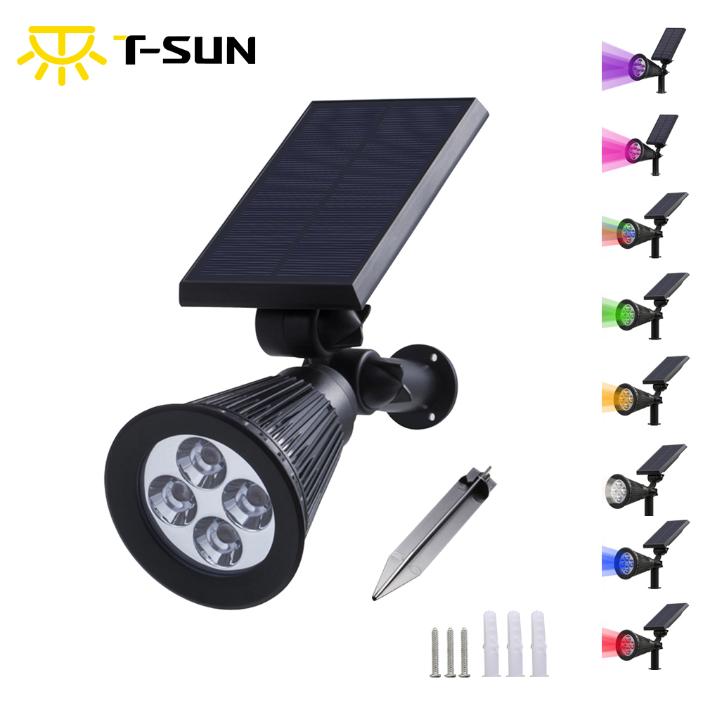 T-SUNRISE Solar Lamp Waterproof IP65 Outdoor Garden Lawn Lamp Landscape Wall Lights 4LED/7LED Various Colors Solar Lights