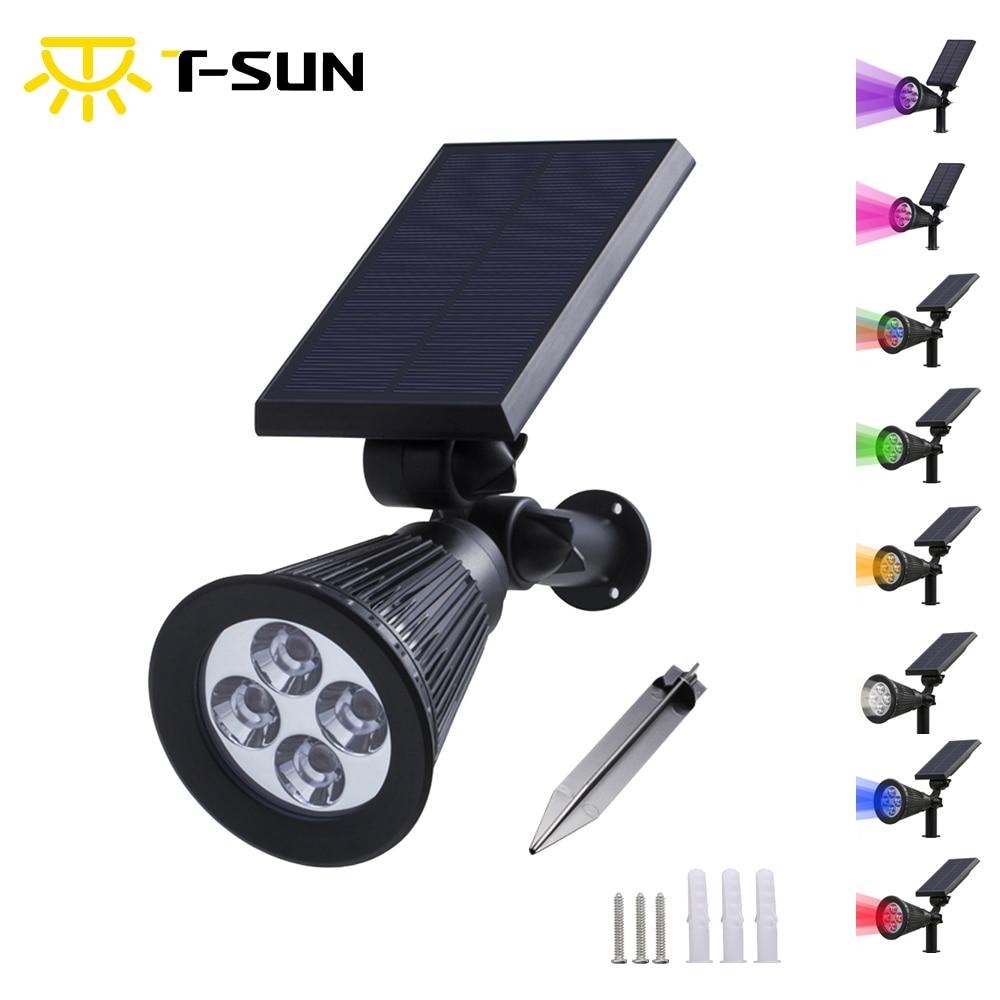 T-SUNRISE Solar Lampe Vandtæt IP65 Udendørs Have Løvlampe Landskab Wall Lights 4LED / 7LED Forskellige Farver Solar Lights