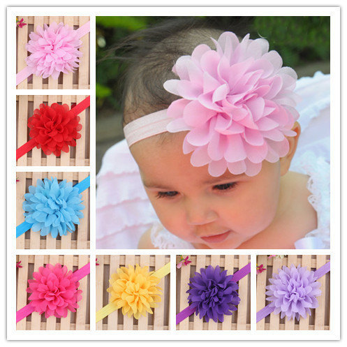 TWDVS Kids Girls Chiffon Flower Hair Band Kids Elastic Ring Hair Accessories Photography Flower Headband Hair Accessories  W070