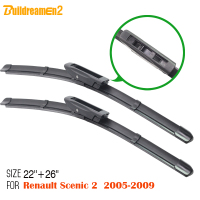 1Pair Frameless Rubber Wiper Blade Fit 2005 2009 Renault Scenic 2 Car Accessories Bracketless Windscreen Windshield