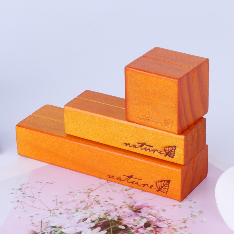 Natural Wood Block Clips Paper Photo Picture Card Holder Clamp Stand Table Decor