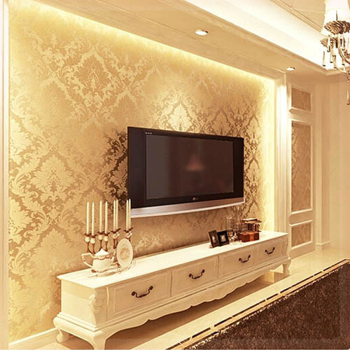 Textured wallpaper damask wall paper non woven 3d living for Wallpaper home improvement questions