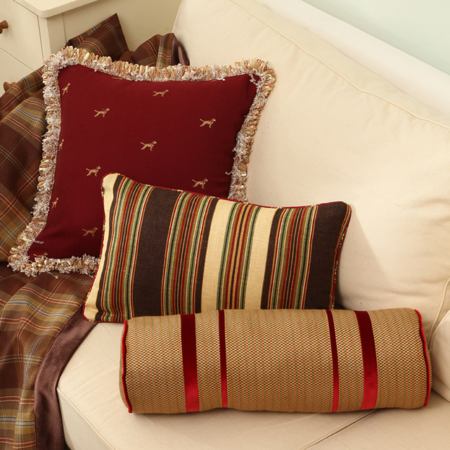 American Style Cushion Cylindrical Pillow Cover Red Pillows For The Unique Cylindrical Decorative Pillows