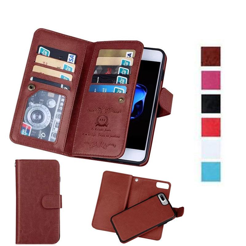 Funda billetera de lujo para iPhone XR 6S 7 8 Plus Note 9 S9 S9Plus XS Max funda magnética extraíble bolsas de teléfono 9 ranuras para tarjetas + marco de fotos