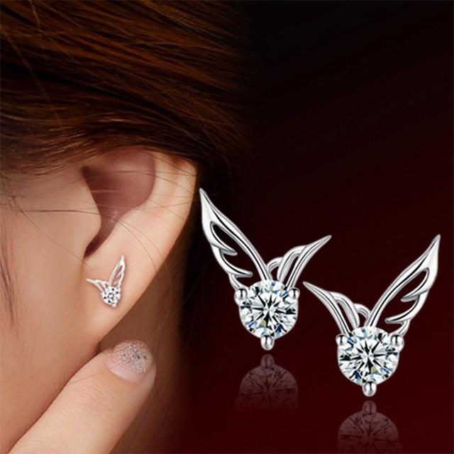 Angel Wing Crystal Stud Earrings Women Silver Color Zircon Rhinestone  Earring Hollow Charm Female Fashion Ear Jewelry Pendientes f98aabec0f40