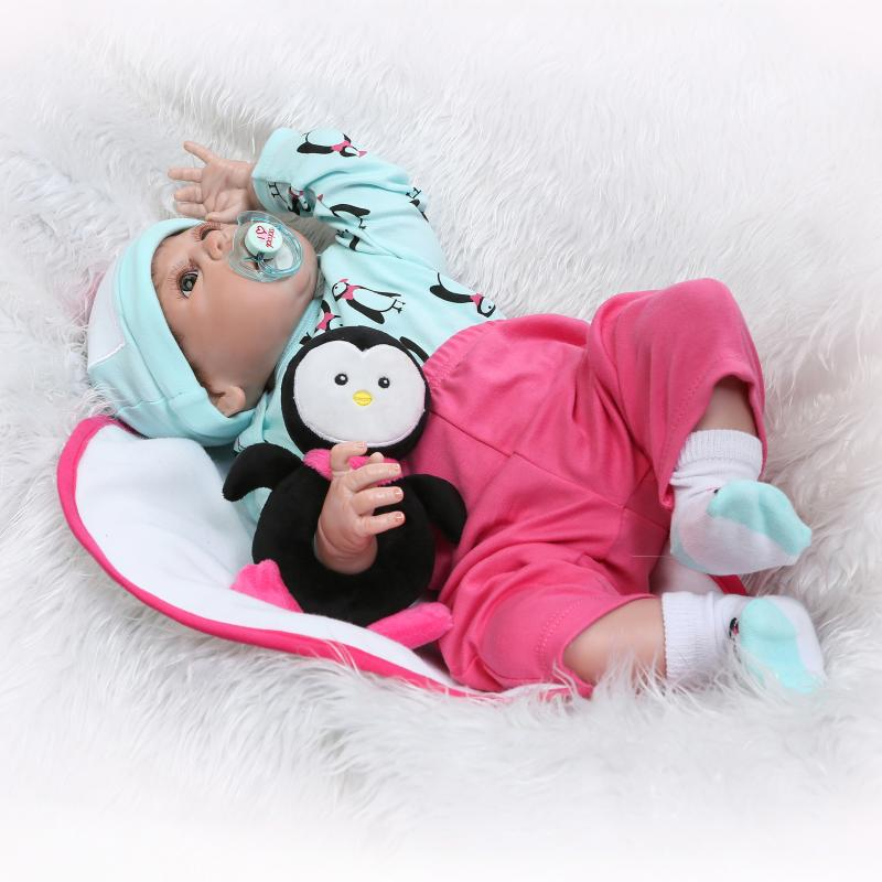 Nicery 22inch 55cm Bebe Reborn Doll Hard Silicone Boy Girl Toy Reborn Baby Doll Gift for Children Green penguin Boy Baby Doll nicery 22inch 55cm bebe reborn doll hard silicone boy girl toy reborn baby doll gift for children purple princess hat baby doll