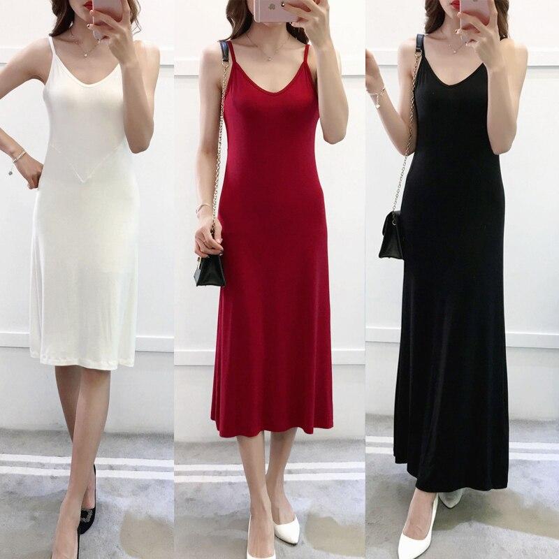 2020 femmes modal coton spaghetti sangle réservoir de base complet slip moyen long plus réservoir sous-vêtement jupon sous-jupe