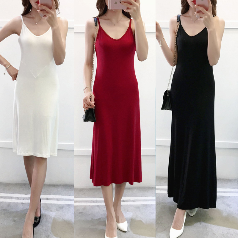 2020 Women Modal Cotton Spaghetti Strap Tank Basic Full Slip Medium Long Plus Tank Underdress Petticoat Underskirt