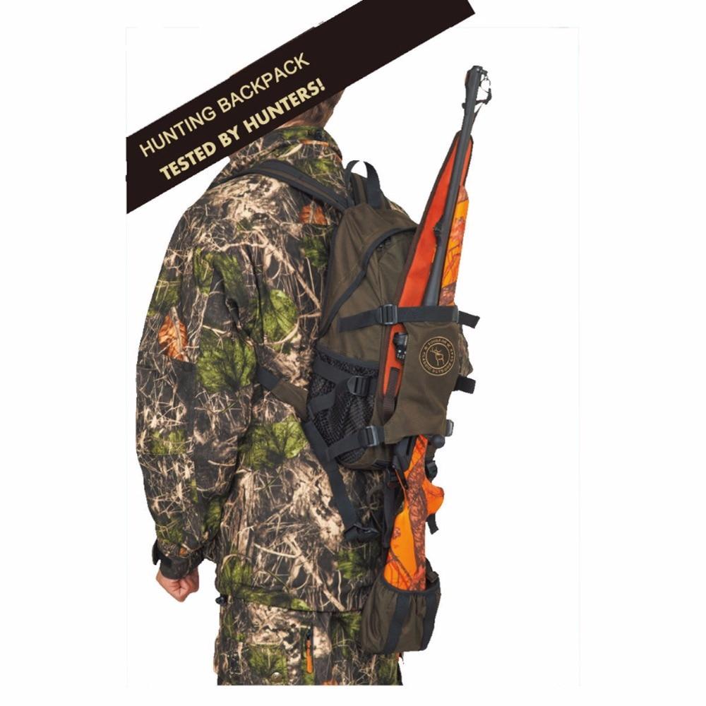 Tourbon Tactical Hunting Gun Bag Backpack Nylon Shotgun Holder Outdoor Travel Hiking Climbing Bags with Large Capacity Shooting tourbon tactical rifle gun sling with swivels shotgun carrying shoulder strap black genuine leather belt length adjustable