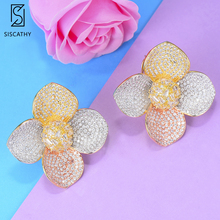Siscathy New Exquisite 3Tone Cubic Zirconia Stud Earring Girls Party Women Flower Statement Earrings Fashion Jewelry Accessories