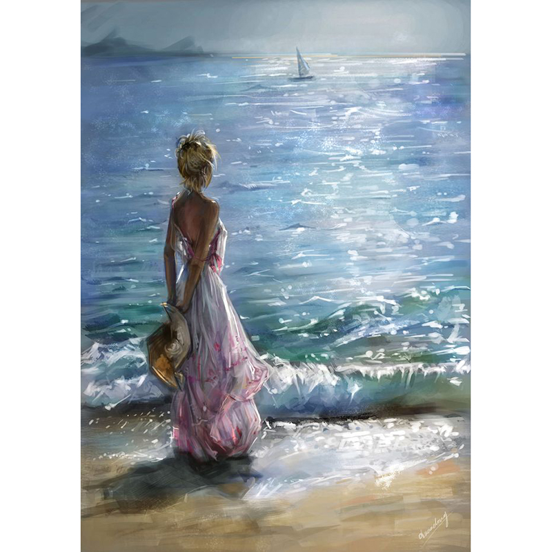 girl&seaside sunset