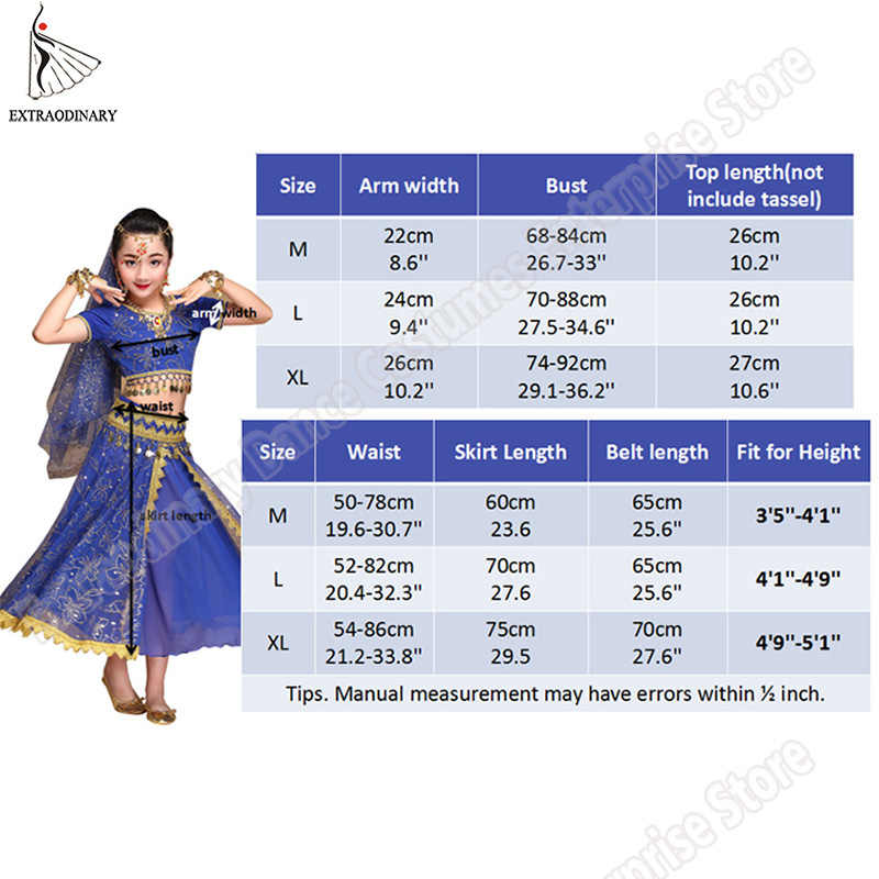 8d19775942c0 ... Belly Dance Costume Children Bollywood Dance Costumes Set Indian  Bollywood Kids Dresses 5pcs (Headpieces Veil