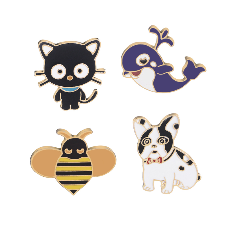 Cartoon Animal Dog and Cat dolphin Bee Pins Enamel pins Badges Brooches for dog cat lover Cute jewelry