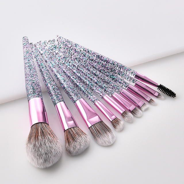 Fashion 9/10pcs Makeup Brush Set Glitter Shinny Crystal Foundation Blending Power Contour Face Cosmetic Beauty Make Up Tool Set 4