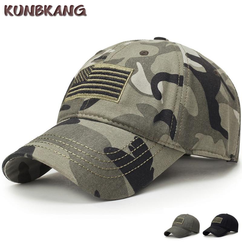KUNBKANG Men USA Flag Camouflage Baseball Cap Army Embroidery Cotton Trucker Cap