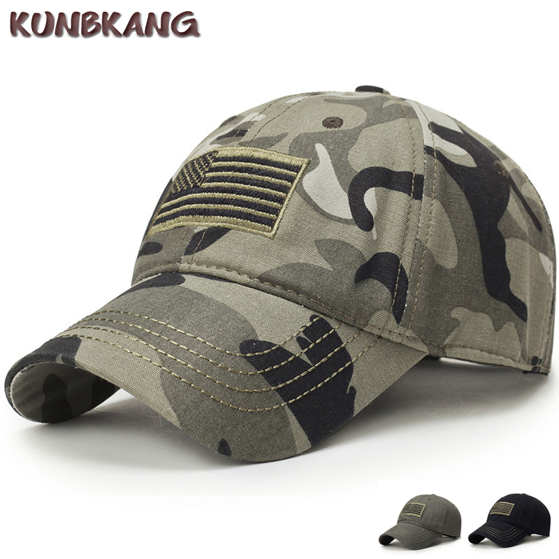 New Men USA Flag Camouflage Baseball Cap Army Embroidery Cotton Tactical Snapback Dad Hat Male Summer Sports America Trucker Cap
