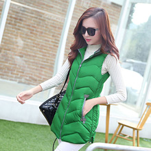 Free shipping 2015 New feather cotton vest female Korean fashion cotton vest slim long hooded outerwear overcoat keep warm coats