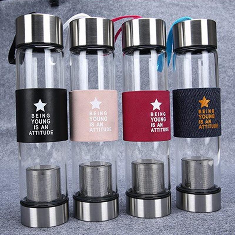 Новые творческие Стекло бутылка фильтра бутылка воды Портативный Стекло с Сита чайные герметичность покрытия прозрачной чайник 450 мл (bs