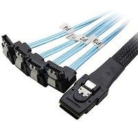 0.5 метра 30AWG Внутренняя Mini SAS 36pin (SFF-8087) w/защелка до 4 X SATA (90 градусов) 7pin вперед коммутационный кабель W/нейлоновой оплеткой