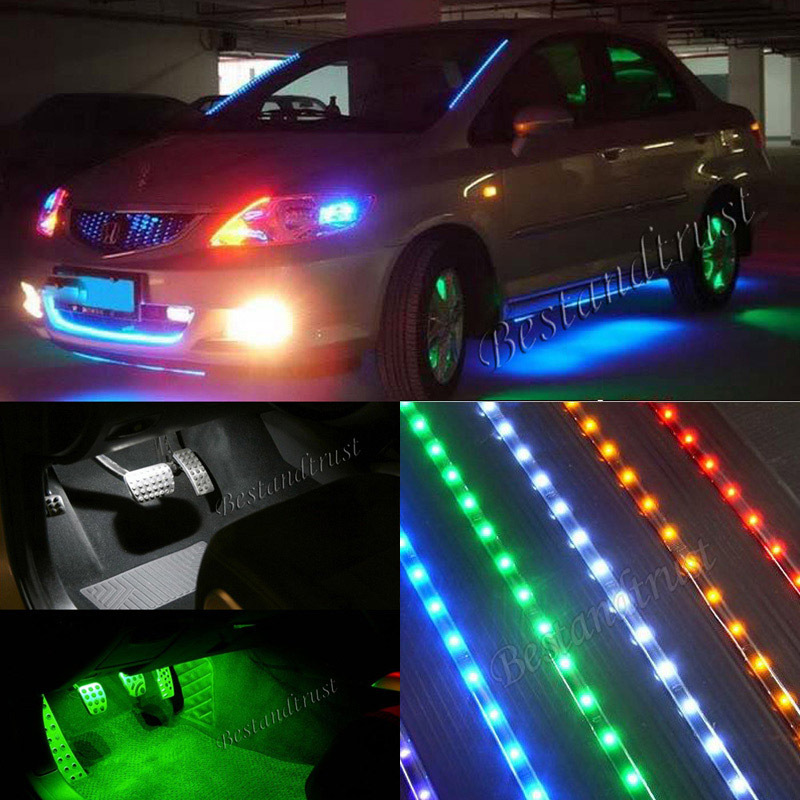 2x 12 Blue Flexible 15smd Led Strip Car Interior Underdash Footwell Light Trucks Motor Bike