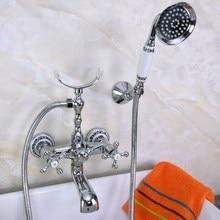 Modern Wall Mount Polished Chrome Brass Bathroom Tub Faucet Clawfoot Hand Shower Mixer Tap Telephone Shape Hand Spray ana224