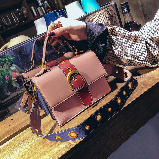 Mini Crossbody Sling Bags Vintage Woman Fashion Flap Sling Bag Color Blocking Messenger Bag 2018 New Beach Handbags Leather 3