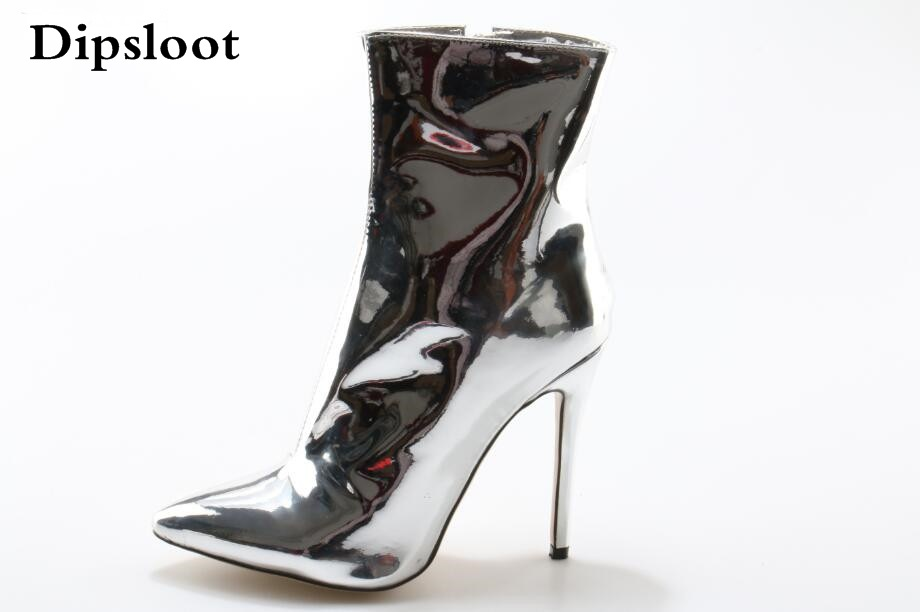 Hot Woman Fashion Patent Leather Ankle Boots Sexy Pointed Toe Shoes Woman Side Zipper High Heels Dress Shoes Lady Big Size 42