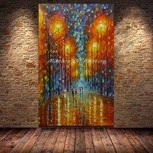 Mintura Большой размер Ручная роспись палитра нож уличный фонарь и Дерево картина маслом на холсте абстрактный современный домашний декор для стен картины