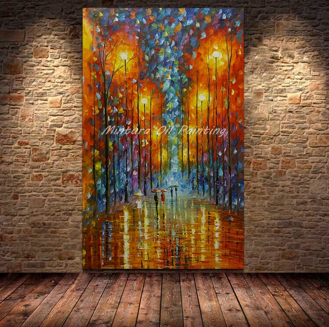 Mintura Large Size Hand Painted Palette Knife Street Lamp & Tree Oil Painting On Canvas Abstract Modern Home Wall Decor Pictures