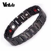 Vinterly Black Titanium Bracelet Men Healing Eneryg Germanium Magnetic Bracelet Punk Chain Bracelets Bangles For Men