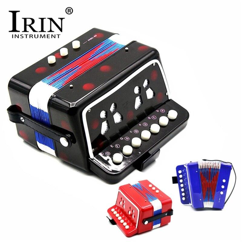 IRIN Mini Petit Clavier Accordéon 7 Boutons Rythme Enfants Éducatif Musical Instrument Bande Jouet pour Enfants 3 Couleurs
