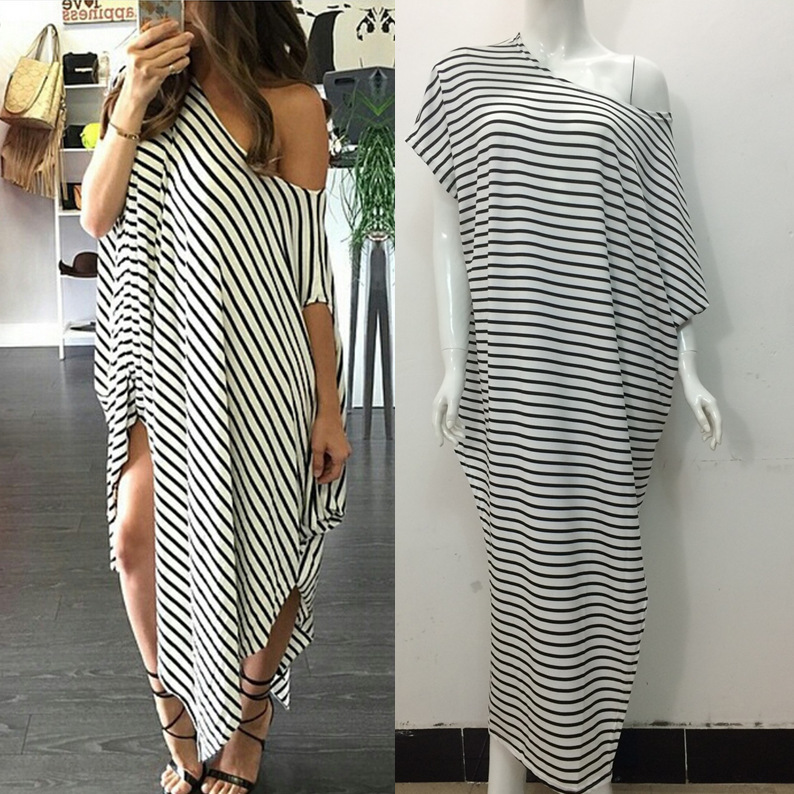 Sexy Loose Black Strips Women Long Dress Slit Maxi Dresses Short Batwing Sleeve Lady -6726