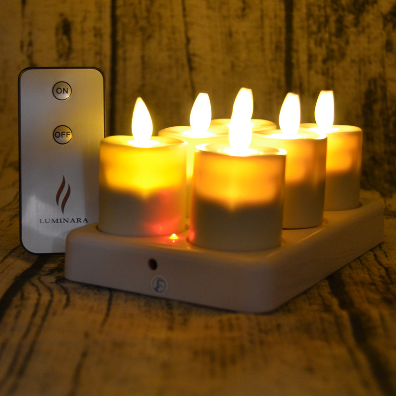 Set of 6 Luminara Flameless LED Tealight Candle Rechargeable Tea Light Candle with Remote White Charging Base for Home Decor