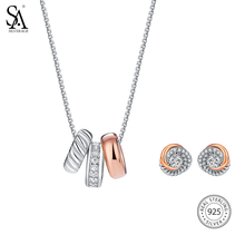 цена на SILVERAGE Genuine 925 Sterling Silver Fine Jewelry Sets Rose Gold Silver Cubic Zirconia Love Knot Stud Earrings Pendant Necklace