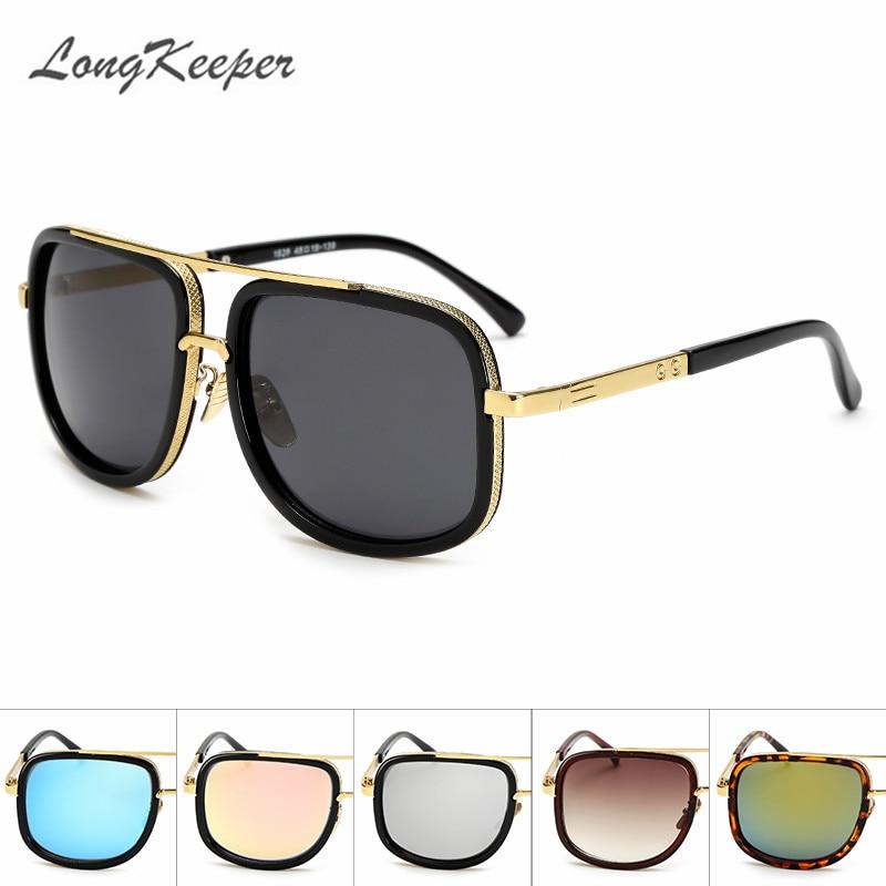النظارات الشمسية للرجال LongKeeper جديد خمر المتضخم الإطار حملق الصيف نمط العلامة التجارية مصمم النظارات الشمسية Gafas دي سول UV400