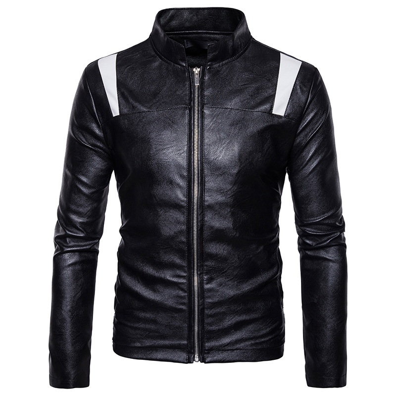Patchwork Motorcycle Leather Jacket Men 2018 Fashion Casual Stand Collar Zipepr Mens Winter PU Leather Jacket Veste 2XL