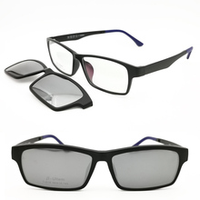 clip on polarized myopia sunglasses 018  ULTEM big size rectangle optical prescription glasses with megnatic sunlenses