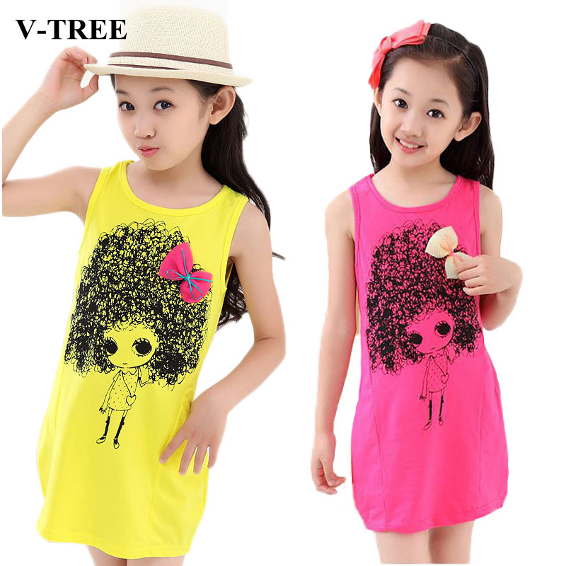 V-TREE Girls Party Dress Cotton Print Costumes For Teenagers Girl Bow Sleeveless Princess Dresses Kids Clothing Children Clothes girl dress kids clothes 2016 wl original lemon flower print a line baby girl dress children cotton princess dress girls costumes